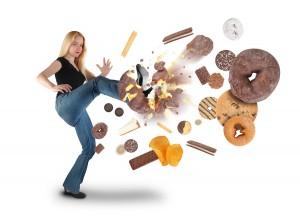 bigstock-Diet-Woman-Kicking-Donut-Snack-32920040