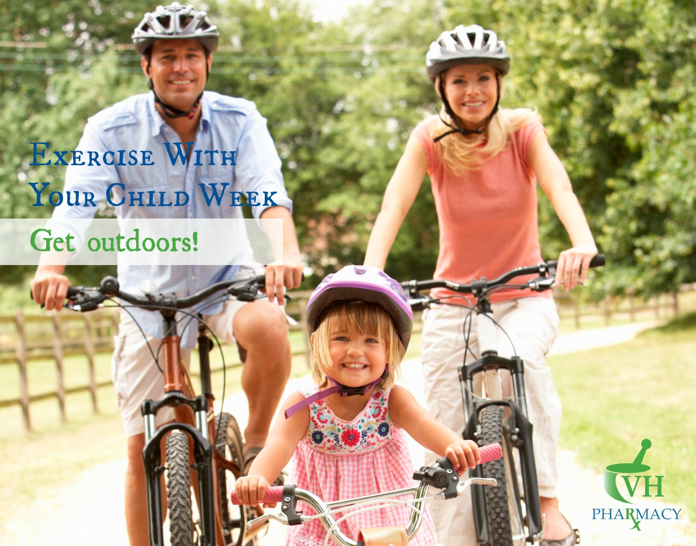 Family riding bikes outdoors